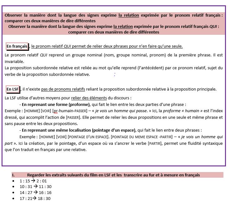 Image illustrant un exemple de fiche comparative entre le français et la LSF.